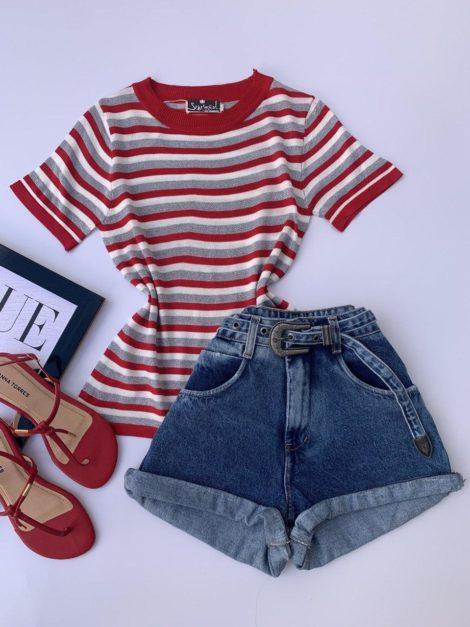 semigualmodas_com_br blusa listrada com fios de lurex vermelha