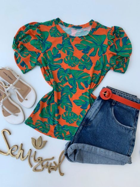 semigualmodas_com_br blusa estampa folhagem laranja