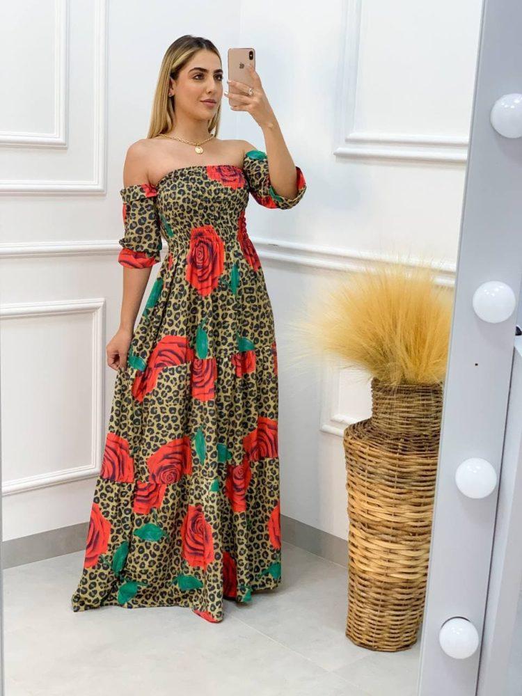 semigualmodas_com_br vestido longo animal print rosas