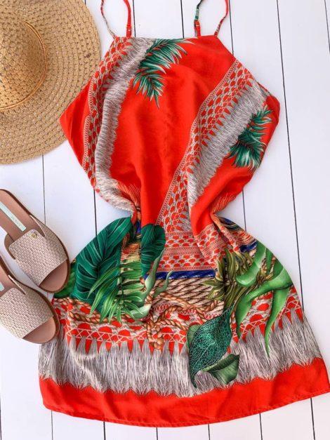 semigualmodas_com_br vestido viscose pavao laranja