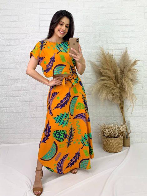 semigualmodas_com_br conjunto saia e blusa laranja